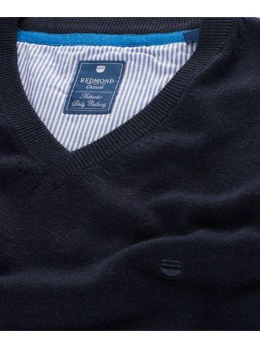 REDMOND Ανδρική μαύρη μακρυμάνικη πλεκτή μπλούζα με V