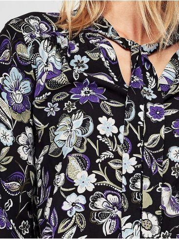 S.OLIVER Γυναικείο εμπριμέ πουκάμισο, δέσιμο λαιμού