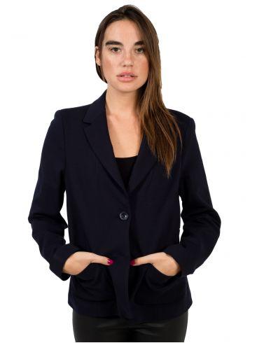 BRAVO Γυναικείο μαύρο κρέπ μεσάτο δίκουμπο σακάκι