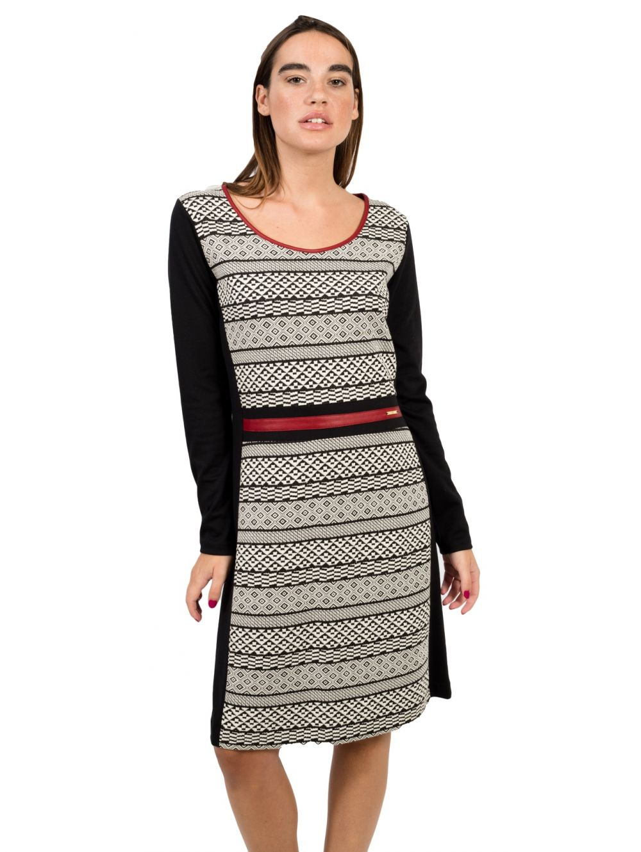 b094298ce603 BRAVO Μακρυμάνικο ασπρόμαυρο ελαστικό φόρεμα - TOPTENFASHION.gr