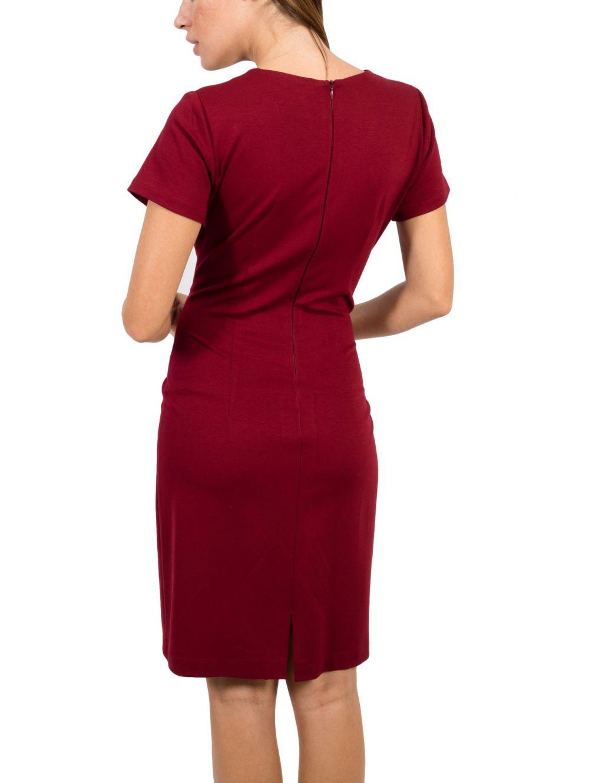 BRAVO Κοντομάνικο μπορντό pencil ελαστικό φόρεμα V - TOPTENFASHION.gr d740c9efa7c