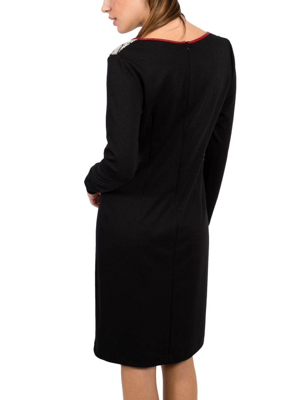 02457f322027 BRAVO Μακρυμάνικο ασπρόμαυρο ελαστικό φόρεμα - TOPTENFASHION.gr