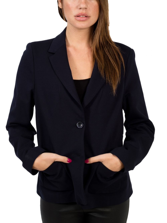4944a521017c BRAVO Γυναικείο μαύρο κρέπ μεσάτο δίκουμπο σακάκι - TOPTENFASHION.gr