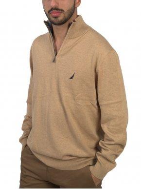 NAUTICA Ανδρική μακρυμάνικη κάμελ πλεκτή μπλούζα