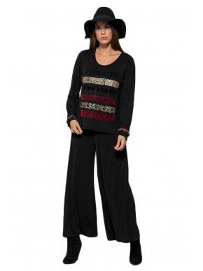 RAXSTA Γυναικεία μαύρη ψιλόμεση ζιπ κιλότ παντελόνα