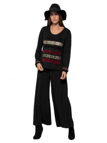 RAXSTA Γυναικείο μάυρο-γκρί κιπούρ ανάγλυφο παντελόνι