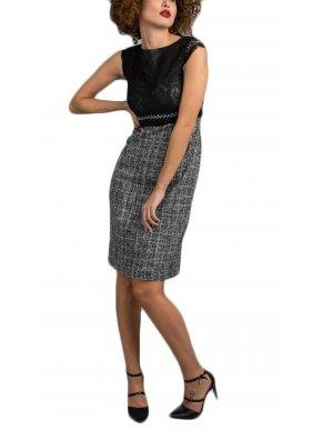 ZINO JORDAN Δαντελωτό κοντομάνικο φόρεμα, λούρεξ