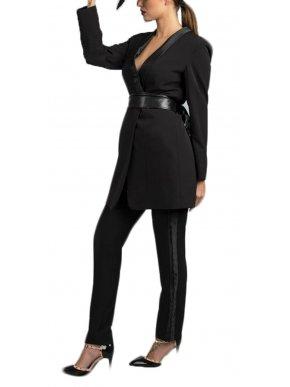 ZINO JORDAN Γυναικείο ελαστικό ψηλόμεσο μαύρο τσίνος παντελόνι, δερματίνη πλάι