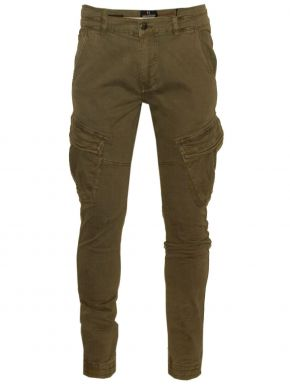 VAN HIPSTER Ανδρικό χακί slim fit cargo παντελόνι, στενό πόδι, λάστιχο στο τελείωμα, πλάγιες τσέπες