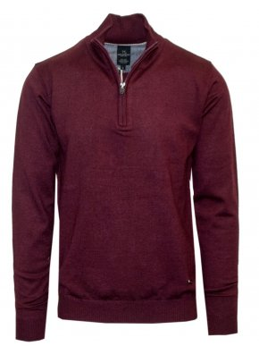 VAN HIPSTER Ανδρική μπορντό μακρυμάνικη πλεκτή μπλούζα, κλείσιμο με φερμουάρ