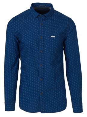 FUNKY BUDDHA Ανδρικό μπλέ μακρυμάνικο πουκάμισο, FBM026-052-18 Indigo