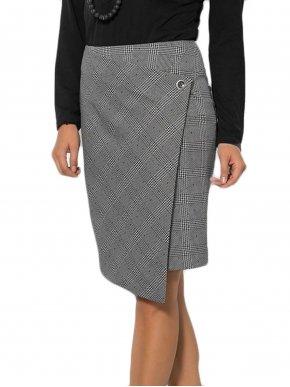 BRAVO Ελαστική ασπρόμαυρη φούστα φάκελος καρό, λοξό κλείσιμο
