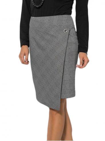 RAXSTA Ελαστική καρό ασπρόμαυρη φούστα