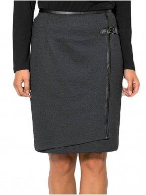 BRAVO Ελαστική γκρί φούστα φάκελος, λεπτομέρειες δερματίνης
