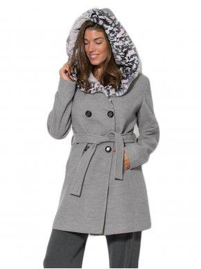 BRAVO Γυναικεία γκρί παλτοζακέτα, γούνα κουκούλας
