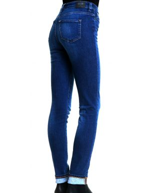 BIG STAR Γυναικείο μπλέ ελαστικό ψιλοκάβαλο skinny τζιν, φερμουάρ,