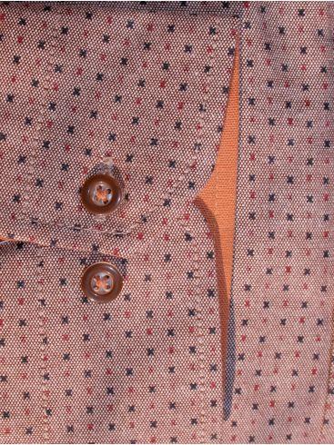 TRM Καρό πουκάμισο, κεραμιδί-μπλέ-πορτοκαλί, casual regular fit