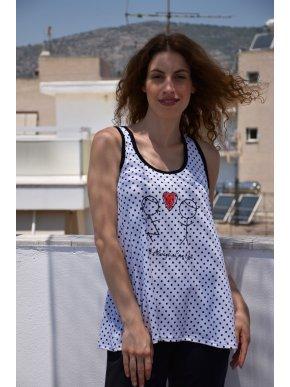 More about ESQUIVO Γυναικεία ασπρόμαυρη πουά αμάνικη μπλούζα