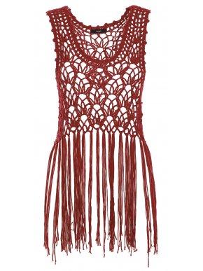 More about ZUIKI Γυναικεία Ιταλική μπορντό πλεκτή διχτυωτή αμάνικη μπλούζα