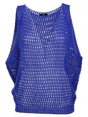 ZUIKI Γυναικεία Ιταλική μπλέ πλεκτή διχτυωτή μπλούζα