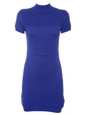 NEW COLLECTION Ιταλικό μπλέ ρουά κοντομάνικο πλεκτό ελαστικό φόρεμα