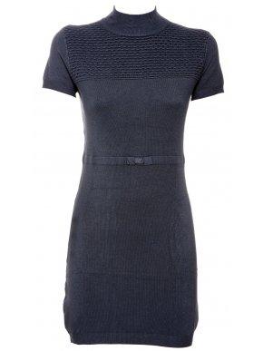 NEW COLLECTION Ιταλικό ανθρακί κοντομάνικο πλεκτό ελαστικό φόρεμα
