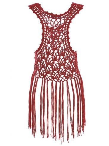 ZUIKI Γυναικεία Ιταλική μπορντό πλεκτή διχτυωτή αμάνικη μπλούζα