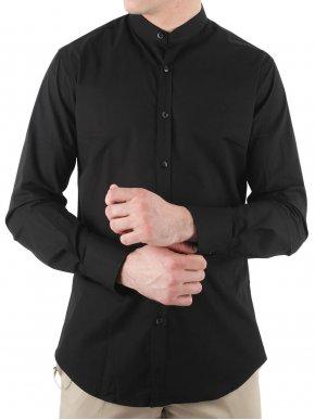 STEFAN Ανδρικό μαύρο μάο slim fit πουκάμισο, χωρίς τσέπη