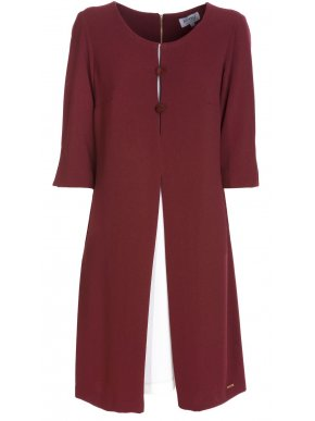 More about BRAVO Μακρυμάνικο μπορντό φόρεμα, άνετη γραμμή, διαφορετικό ύφασμα εσωτερικό μέρος