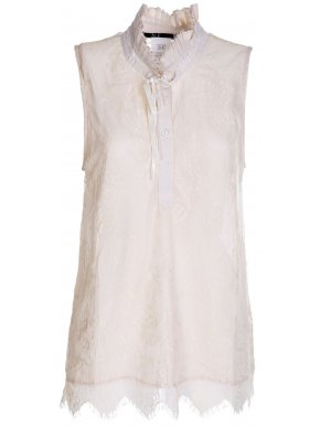 ALE Γυναικεία αμάνικη εκρού δαντελωτή μπλούζα πουκάμισο, όρθιο γιακά
