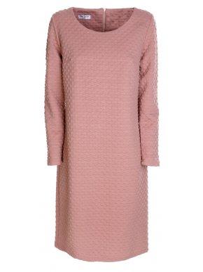 ZINO JORDAN Μακρυμάνικο σομόν ελαστικό ανάγλυφο φόρεμα