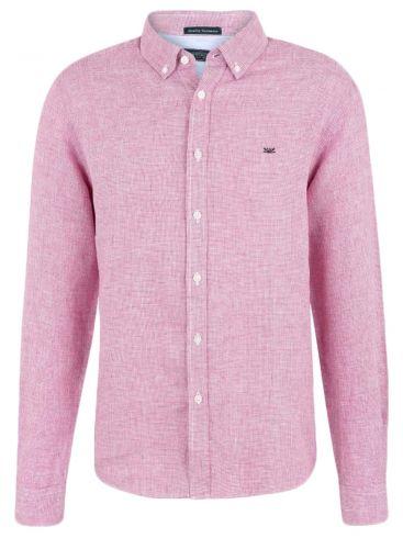 FUNKY BUDDHA Ανδρικό μπλέ πετροπλυμμένο μακρυμάνικο πουκάμισο, κουμπιά γιακά, casual fit. 100% Βαμβάκι.