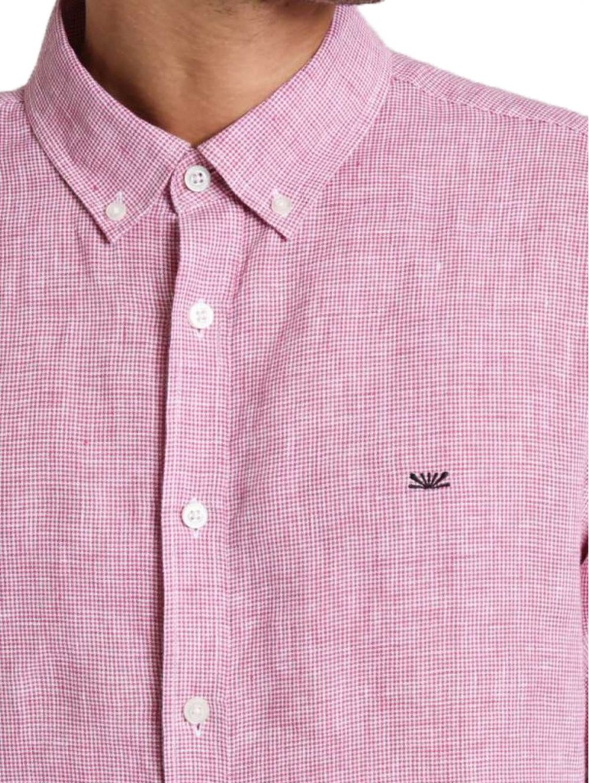 4228314f64b6 FUNKY BUDDHA Ανδρικό μπλέ πετροπλυμμένο μακρυμάνικο πουκάμισο