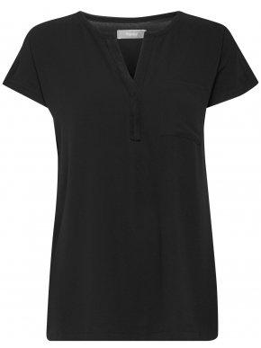 FRANSA Γυναικεία μαύρη κοντομάνικη μπλούζα V