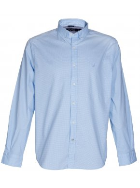 NAUTICA Ανδρικό μακρυμάνικο ελαστικό ψιλό καρό γαλάζιο πουκάμισο