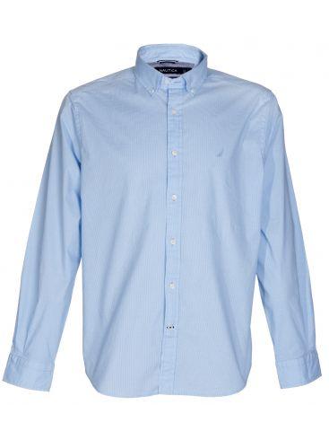 NAUTICA Μακρυμάνικο Oxford γαλάζιο stretch πουκάμισο
