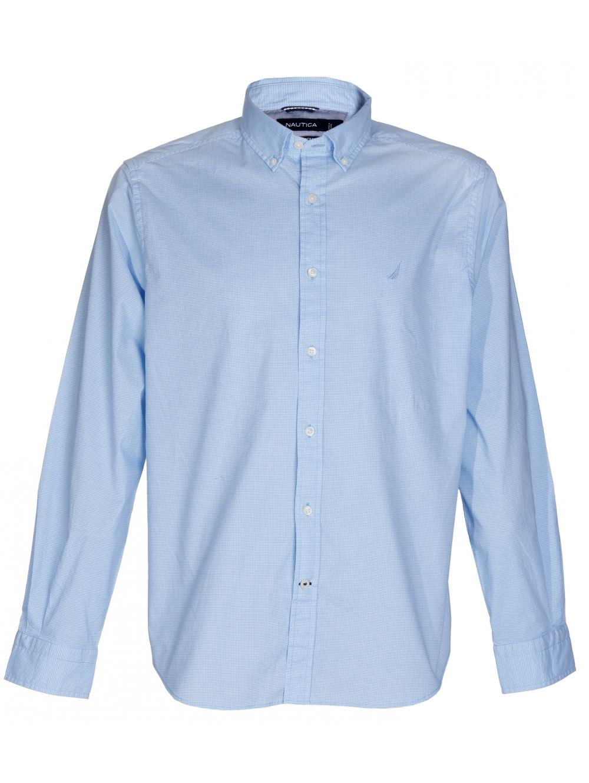 46fe681569cc NAUTICA Ανδρικό μακρυμάνικο ελαστικό ψιλό καρό γαλάζιο πουκάμισο ...