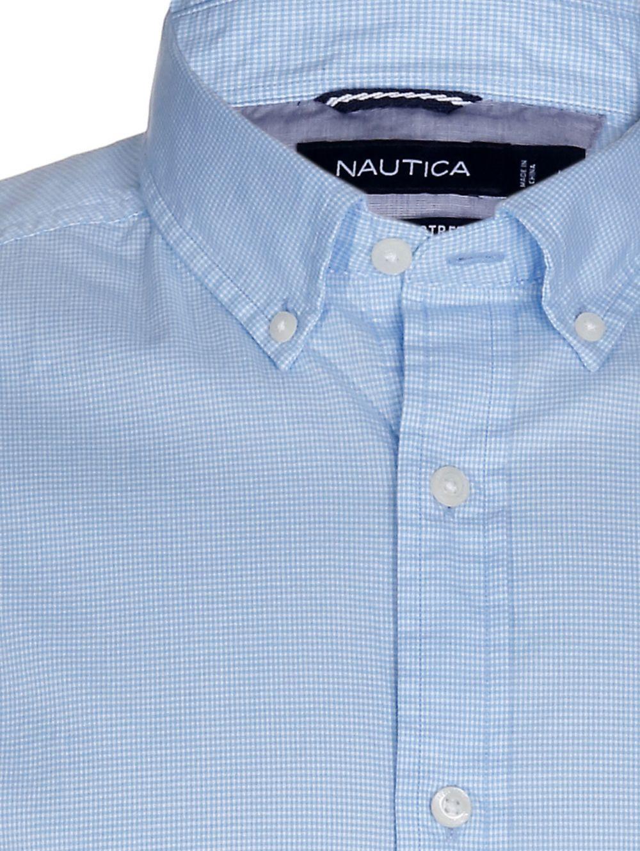 bc3f17cbdef2 NAUTICA Ανδρικό μακρυμάνικο ελαστικό ψιλό καρό γαλάζιο πουκάμισο ...