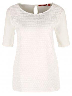 S.OLIVER Γυναικεία κοντομάνικη λευκή κιμπούρ μπλούζα