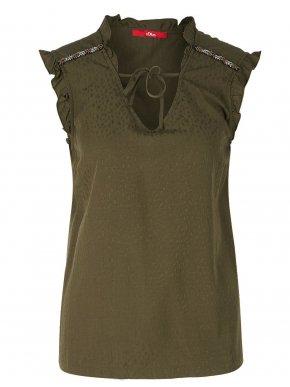 S.OLIVER Γυναικείο αμάνικο έθνικ χακί πουκάμισο, κέντημα