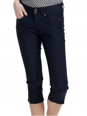 FRANSA Γυναικείο μπλέ ελαστικό μεσαίο καβάλο παντελόνι κάπρι