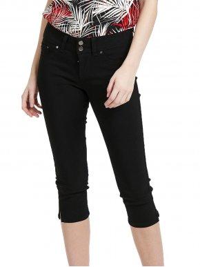 FRANSA Γυναικείο μαύρο ελαστικό μεσαίο καβάλο παντελόνι κάπρι