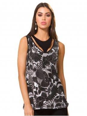 RAXSTA Γυναικεία ασπρόμαυρη αμάνικη διατρητή μπλούζα