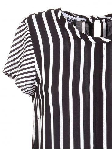 ALE Ασπρόμαυρη ριγέ fashion πουκαμίσα