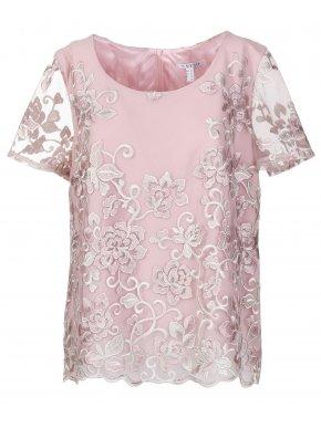 VETO Γυναικεία κοντομάνικη αμπιγέ σομόν δαντελωτή μπλούζα