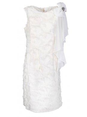 VETO Αμάνικο εκρού αμπιγιέ φόρεμα, διακοσμητικό φιόγκο