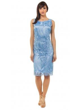 BRAVO Μίντι αμάνικο δαντελωτό γαλάζιο φόρεμα