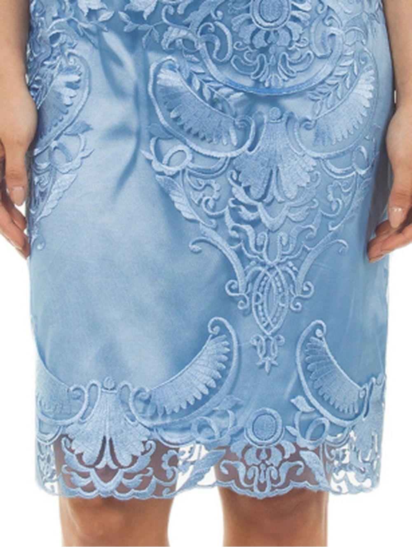ab486a426b20 BRAVO Μίντι αμάνικο δαντελωτό γαλάζιο φόρεμα - TOPTENFASHION.gr