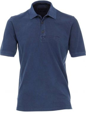 CASA MODA Ανδρική μακριά μπλέ indigo πικέ πόλο πετροπλυμμένη μπλούζα