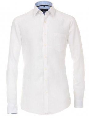 CASA MODA Ανδρικό λευκό μακρυμάνικο λινό πουκάμισο